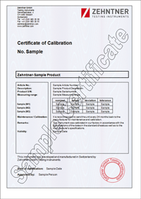 calibration and certification ZUA 2002 (incl. certificate of calibration)